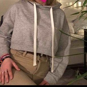 Superduper härlig grå croppad hoodie