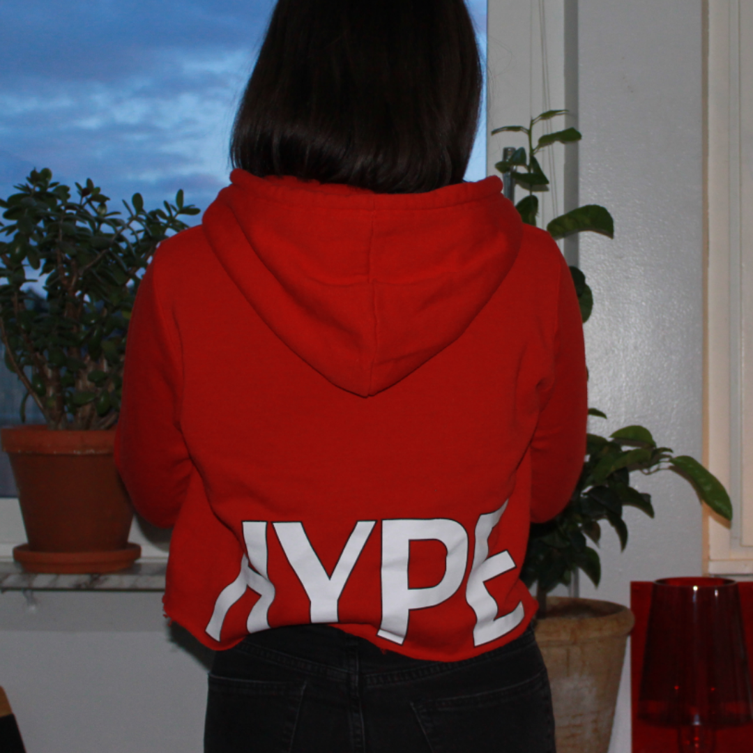 A cropped red hoodie from Bik Bok, with