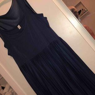 Marinblå klänning som slutar strax nedanför knänen. Nytt skick 😊 du står för frakt