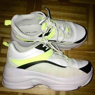 Worn , but really loved and taken care of groovy sneakers, white is still white, neon yellow color makes them look really good 💛