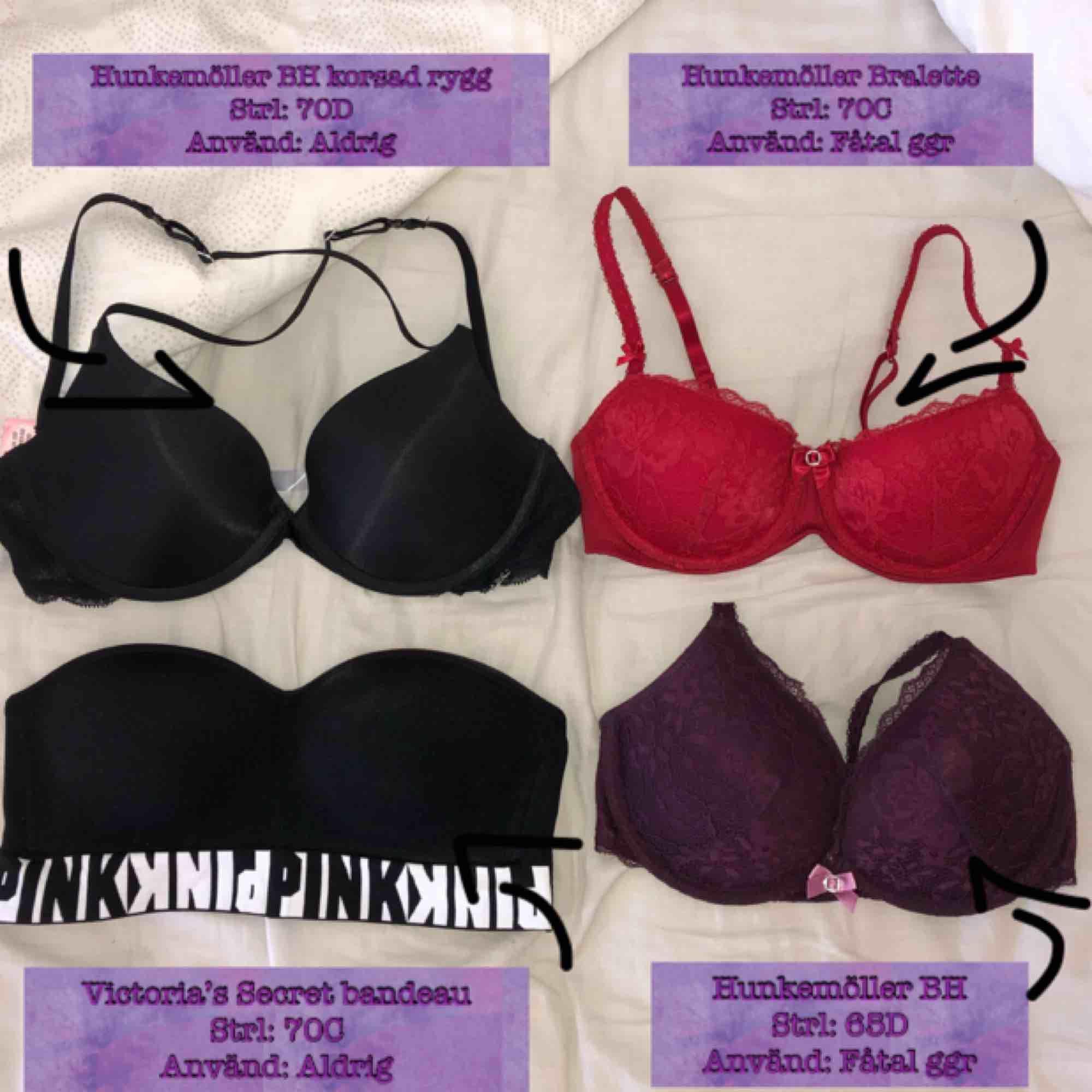 3 BH:ar från Hunkemöller och 1 Bandeau BH från Victoria's Secret! Se skick och storlek i respektive rutor på bilden🤩 Alla i nyskick och säljer dom för 100 styck + frakt🌸 För enskilda bilder på dessa kontakta mig!. Övrigt.