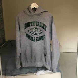 En grå hoodie med grön text. Köpt från second hand 🌸 jag kan mötas upp på Södermalm i Stockholm eller frakta men då står köparen för frakten