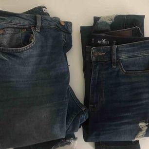 Två snygga jeans, Hollister strl W27 L30 ( sitter perfekt på mig (är 172). Gona tricot strl 38🌸 båda paren för 300kr och ena för 180kr ✌️