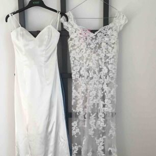 I'm selling a wedding gown I bought second hand – but changed my mind. About the dress: off-white, train, lace, satin, cut-out back, tight fit, v-neckline. Dry-cleaned & ready to wear. Feel free to contact me for a fitting – coffee included 🤗