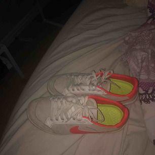 Ett par fina Nike skor i storlek 38,5 men passar folk med 39 oxå. Ganska smutsiga men de borde gå bort i tvätten, annars inga fel på dem. Kan mötas upp i Göteborg annars står köparen för frakt:)
