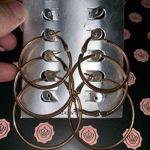 3 par runda örhängen i guld. Aldrig använda
