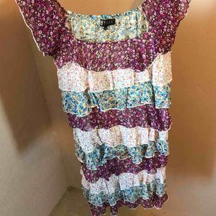 Jättesöt klänning med fina volanger i olika färger. Perfekt nu till sommaren