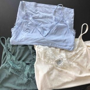 Gröna och beiga från Gina tricot, stl S båda tvåa! Blåa från Bikbok, stl XS men passar s :) 70 kr/Styck!