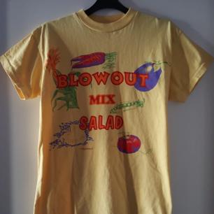 Vintage gul t-shirt med grönsaker på. Har ett litet igensytt hål på ryggen uppe vid nacken vid lappen (se bild 3). Kan skickas om köparen står för fraktkostnaden på 36kr.