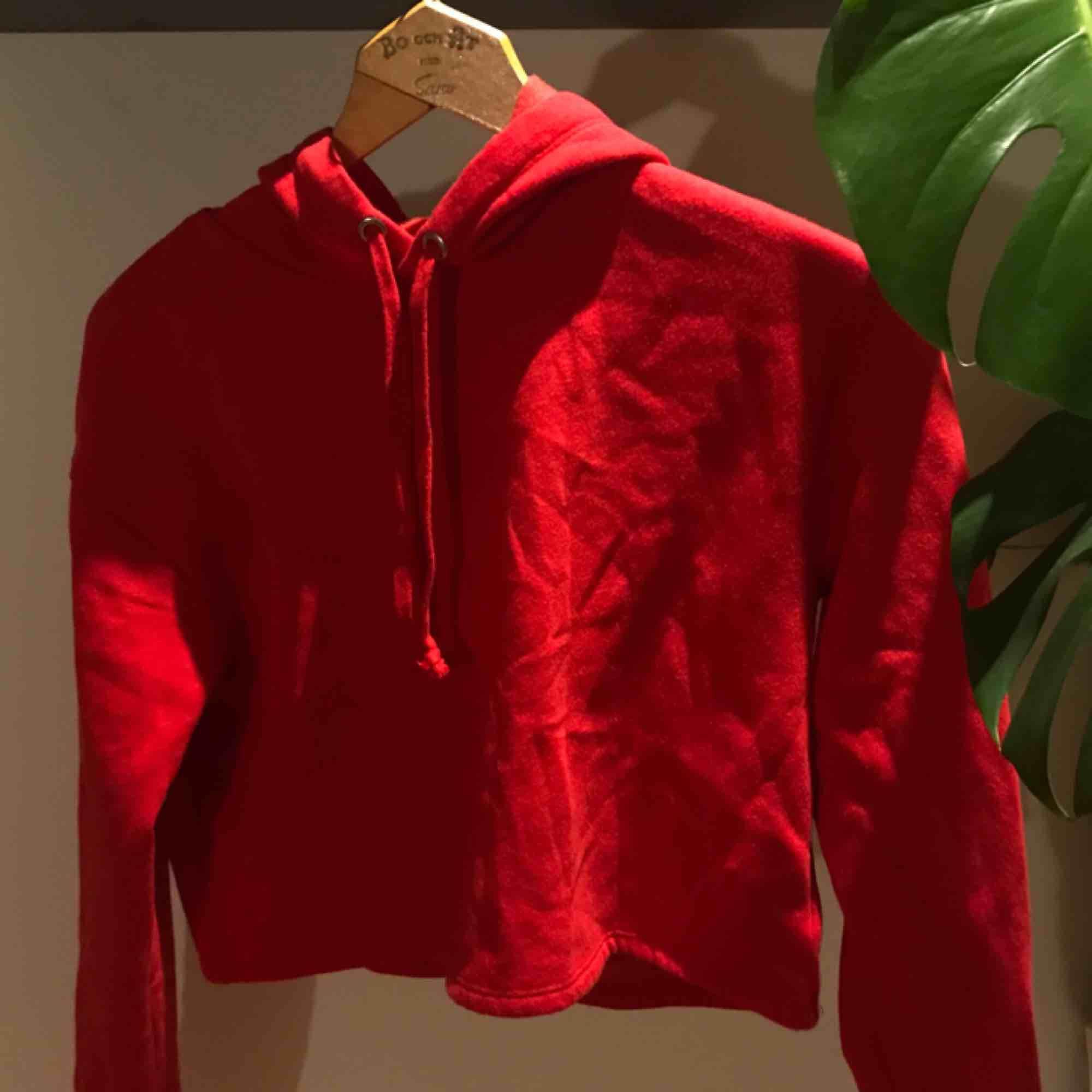 Oanvänd croppad röd hoodie. Super skön och mjuk inuti och en Nice fit. Säljas pga kom aldrig till användning. frakt tillkommer🔴. Huvtröjor & Träningströjor.