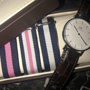 Klocka från Daniel Wellington, brunt läderband samt tre olika tygband (alla från Daniel Wellington).