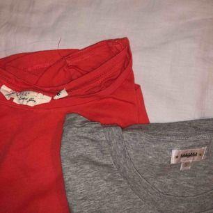 Säljer två T-shirtar som ja inte använt på ett tag, en röd och en grå. Den röda är från Hm och den gråa från JC, crockers. Båda är i S.