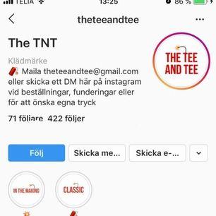 Ni vet väl om att The Tee and Tee även finns på instagram?🧨💥 @theteeandtee 💥🧨 Skicka kort på er med tröjan efter att ni fått hem den så taggar vi er i vår instagram (om ni vill)🔥🔥🔥