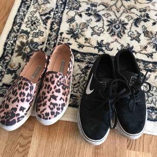 Säljes ett par Nike Janoski för 300 kronor. Använda cirka två gånger.  Även ett par leopard sneakers från Nelly. Aldrig använda. Storlek 36
