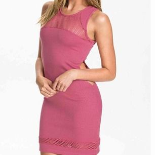 Mesh jersey dress in rose pink  New with tag!