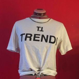 Snygg T-shirt med hög hals från POP i Malmö, litet hål visad på bilden men köpt 2hand så det var där från början och det är inget man märker. Använd typ 2 ggr.
