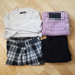 150 kr + 63 kr i frakt ❤ (dvs 213 kr totalt)   × ribbad croptop  × rutig kjol  × ljusrosa jeans  × spetströja, off shoulder