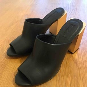 Brand New Topshop black leather mules with brushed matt gold block heel- size 38 :) Perfect condition but no box