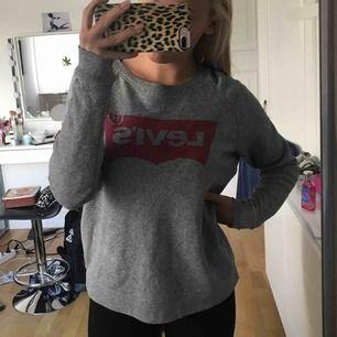 En jättefin grå långärmad tröja från levi's. Den är väldigt stor i storleken och rätt så lång på mig som är 165 cm.