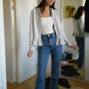 Söt zipper hoodie grå