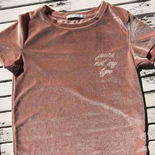 """Snygg sammets t-shirt från berskha. Står """"You're not My type"""" på bröstet. Glittrigt rosa (ser mörk ut på bilder vilket den inte är). Passar storlekar mellan Xs-s. 91% polyester 9% elastan"""