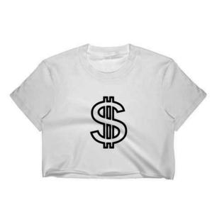 Crop-Top med dollarsign tryck. Finns även i svart med vitt tryck.