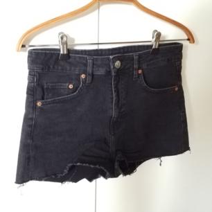 Oanvända svarta jeansshorts
