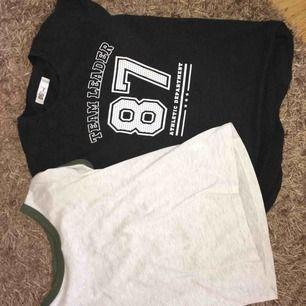 Säljer två t-shirts för 60kr för båda men 50kr st. Storlek XS och S men de är lika stora på. Sälja pga aldrig använda bara prövade. Köparen står för frakten.
