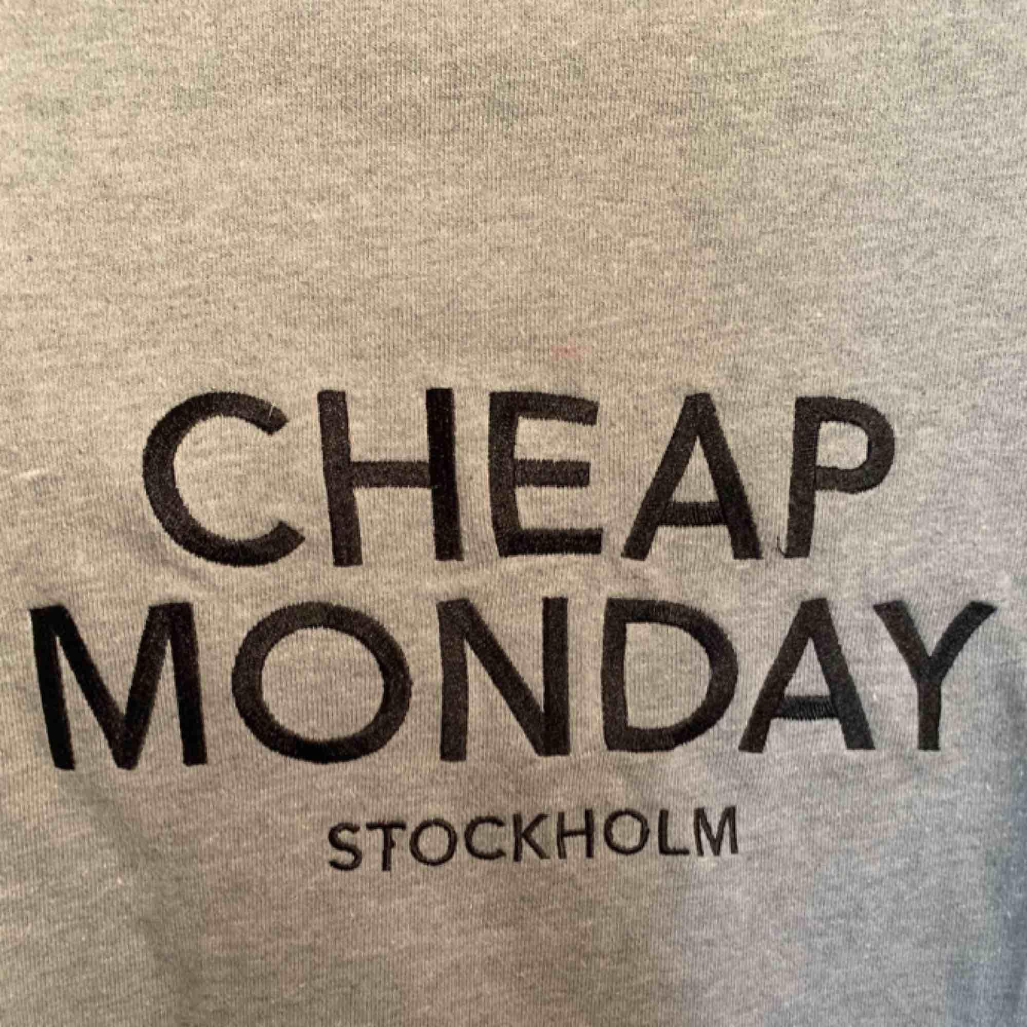 En grå tröja från Cheap Monday. Strl XS, löpte nopprig därav priset men annars väldigt fin.. Huvtröjor & Träningströjor.