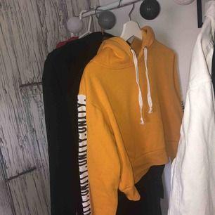Kortare gul tröja med tryck på armarna från bikbok! Extremt fin men fel storlek för mig😢😢