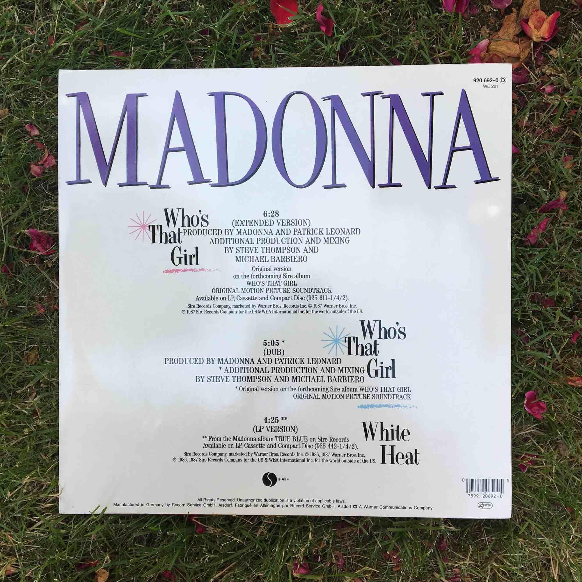 """Lp skiva av madonna """"whos that girl"""" från 1987. Övrigt."""