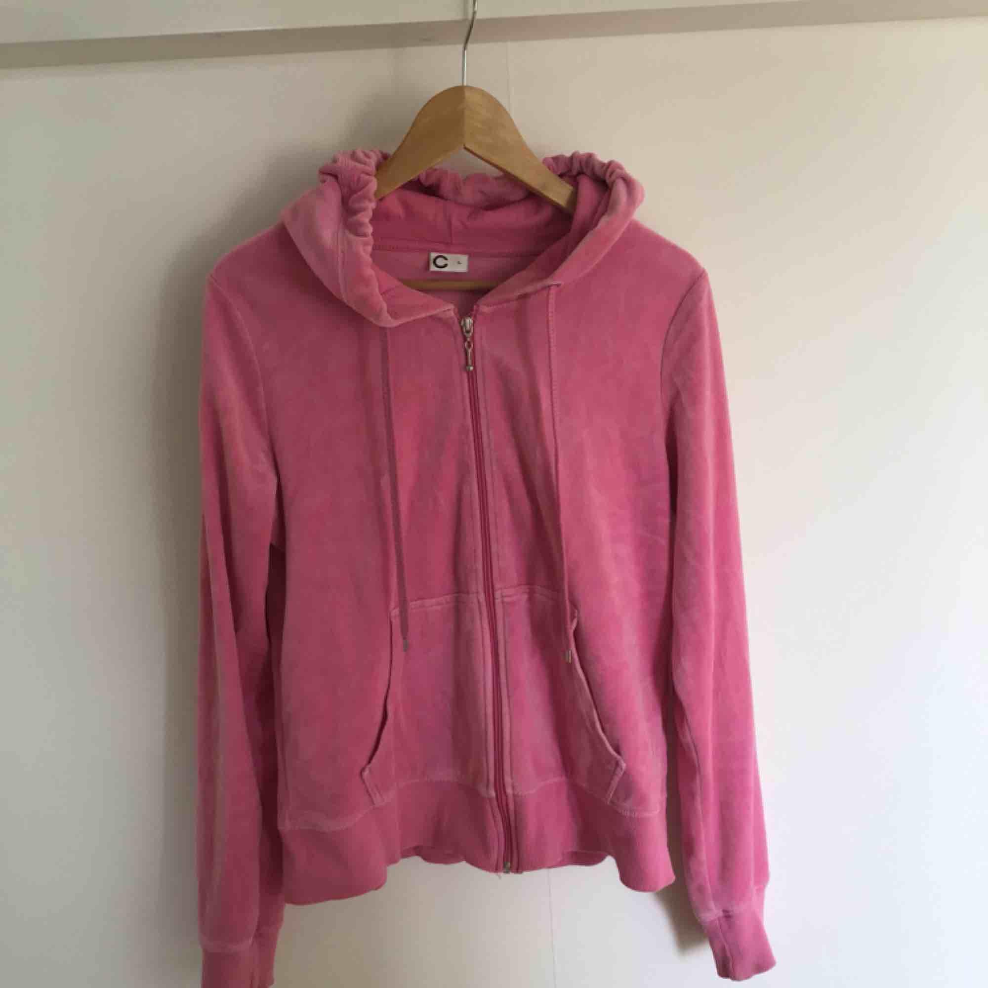 Rosa velour hoodie med dragkedja . Huvtröjor & Träningströjor.
