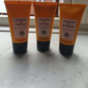 Säljer ÄKTA oanvända Aqua Di Parma i showergel, schampoo & balsam i travelsize 40kr st eller alla 3 för 100kr