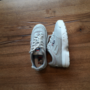 Fila Disruptor i bra kvalitet. Skorna är i 37 (woman size).  skorna har vita snören. 2 Fila märken på sidan av skorna samt en på hälen och i skorna, på sulan. Fila märket finns också på tungan av skorna och ett litet märke vid bandet som håller ihop skosnören. Inget märke är skadar och syns tydligt på skorna. I skorna finns det ett mönster som knappt syns när skorna används. Dom här skorna rekommenderas att användas sneakers/vardagskor