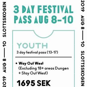 Säljer way out west biljett för att jag inte längre har möjlighet att fara själv!!  Way out West youthpass 3dagars för 8-10 augusti i Göteborg 1550kr (ordinarie pris 1695kr). Kontakta så snabbt du kan så kan vi diskutera pris!! Prutbart pris!!!!!!!!!!