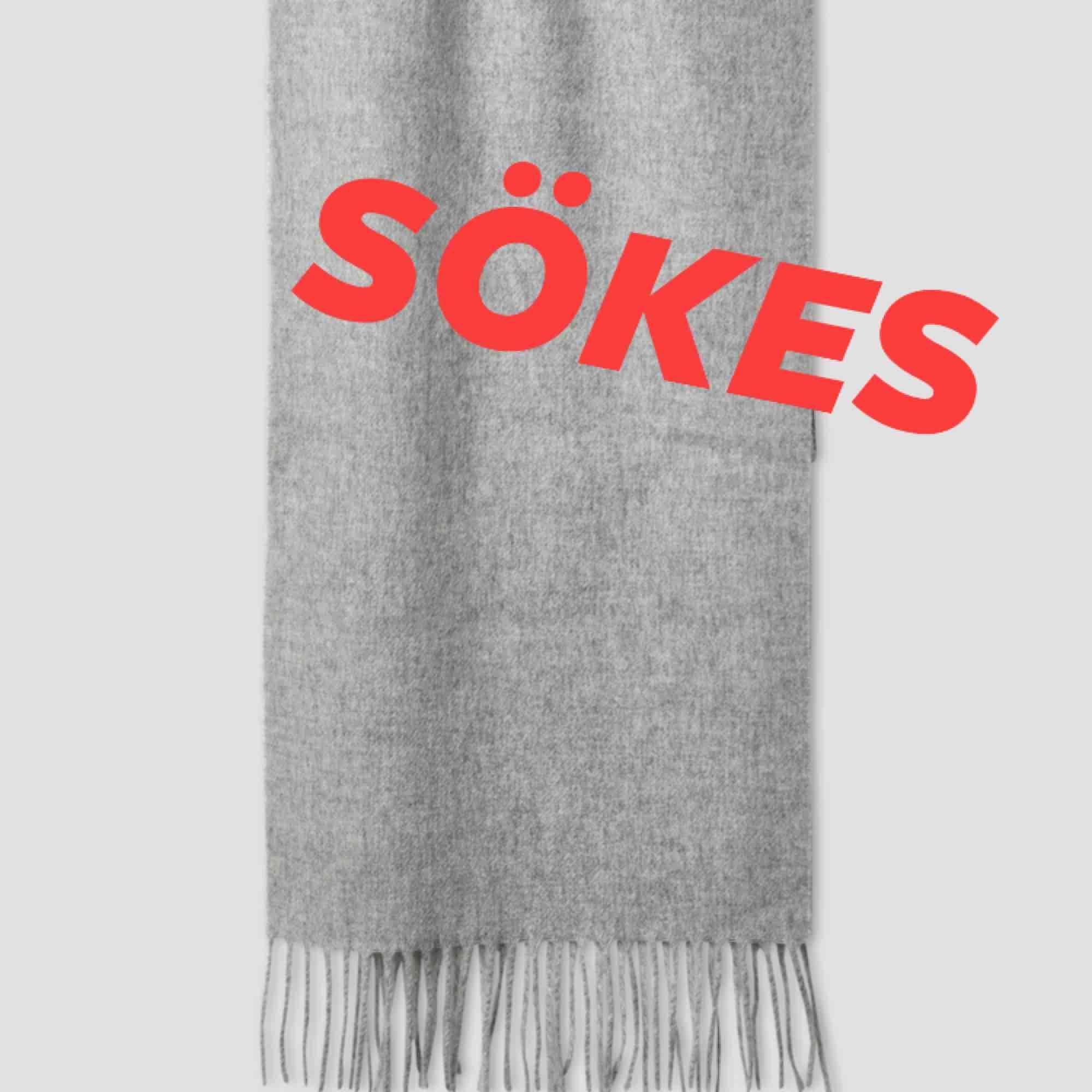 Söker en stor sjal från Filippa K eller Acne i ljusgrått. Ej syntetiska material . Accessoarer.