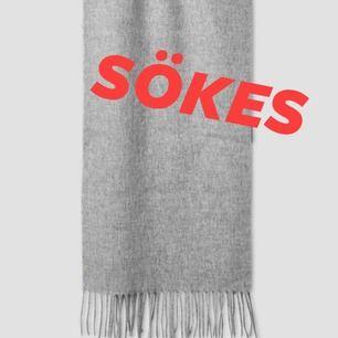 Söker en stor sjal från Filippa K eller Acne i ljusgrått. Ej syntetiska material