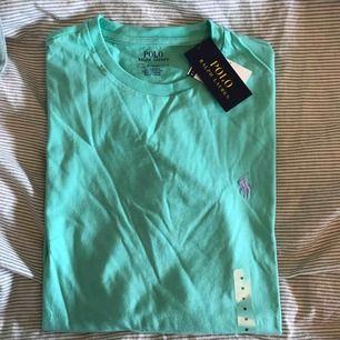 Ralph Lauren tröja köpt i USA, aldrig använd lappar finns kvar, mint grön med lila/rosa märke  (köparen står för frakt)