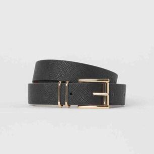 Coolt svart bälte/ skärp med guldspänne från H&M. Köpte för ca ett halvår sen men har aldrig använt det! 36kr frakt!💗💗