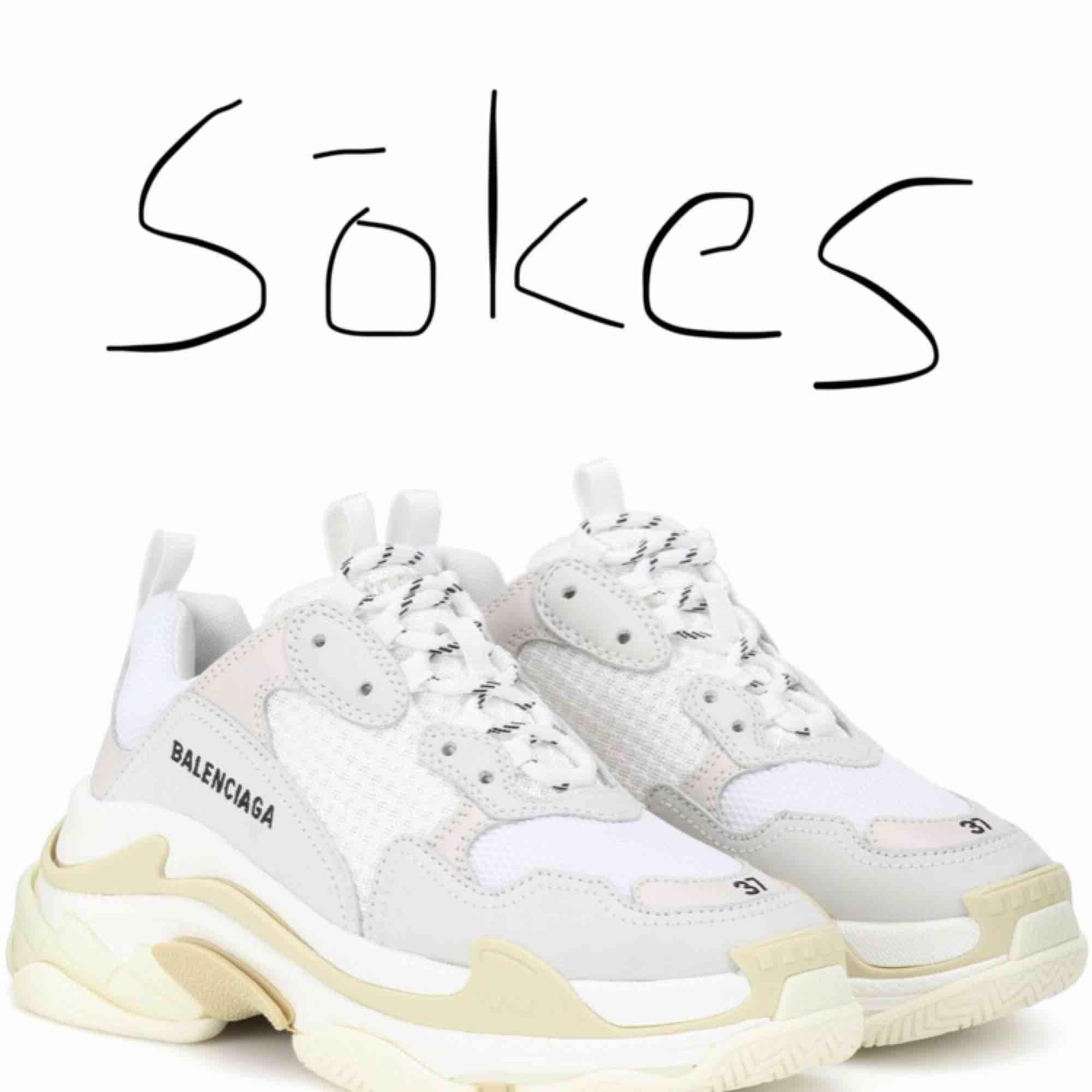 SÖKES!   Söker ett par Balenciaga sneakers i vitt som på bilden. Äkta eller fake spelar ingen roll.. Skor.