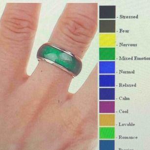 Har massor av moodrings och ett mood-armband. På första sidan ser ni vad färgerna betyder! En ring för 50kr. Både ring och armband för 100kr. Bara armband 80kr. Om du vill köpa flera ringar ger jag ett paketetpris!! Skriv till mig för mer info!!🌼