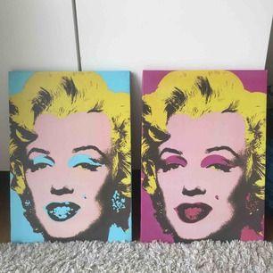 Två Marilyn Monroe tavlor för 100kr styck. Båda för 200kr. En blå och en rosa super färgglada och fräscha, ger en fin färgtouch i rummet🥰