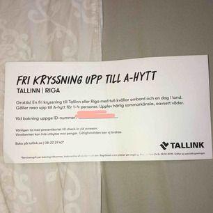 En kryssning till Tallinn eller Riga från Stockholm. Säljer billigare än vad det skulle kostat att köpa på sidan då jag ej har möjlighet att åka själv. Om fler är intresserade så är det högst budande. Efter betalning skickar jag ID numret!