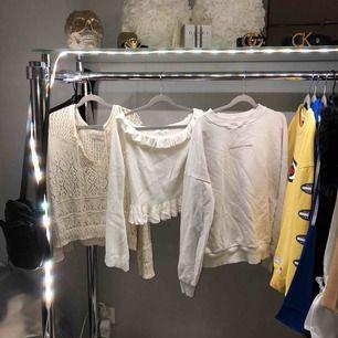 1. Virkad pull-over tröja från pull&bear. 100 kr 2. Tröja med flare ärmar från missguided. 100 ❌såld❌ 3. Hoodie från nakd. 150 kr