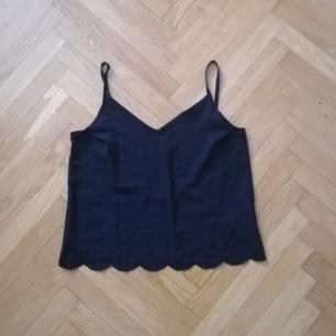 Svart croppat linne från NLY Trend i stl S. Coolt format längst ner och lågt skuren rygg. Frakt 36 kr.