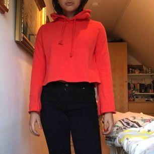 Röd croopad hoodie med flare armar! Från weekday med bra kvalitet trots använd och tvättad. Säljes pga ej min stil längre