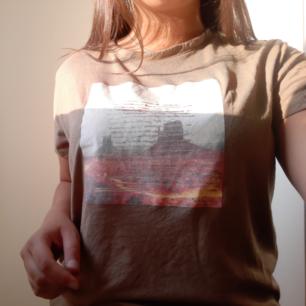 Brun tshirt med tryck där fram. Storlek XL men passar typ alla storlekar beroende på vilken passform man vill ha. Aldrig använt.