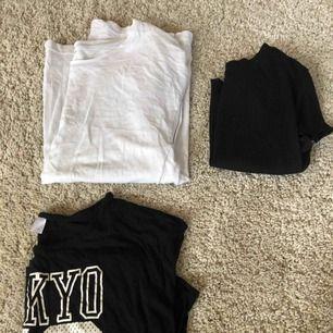 3 tröjor från olika märken, tröjan till höger är en magtröja med ribbat tyg. Köpare står för frakt.