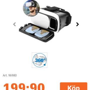 Helt nya oanvända VR-glasögon i originalförpackning! Märket är Linocell och all skyddsplast och extradelar finns kvar. Säljer då jag fick dem i present men inte har någon användning för dem :) Nypris: 199kr