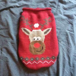 Jultröja till hund, osäker på storleken. Men passar små hundar, fint skick och sparsamt använd. Fraktkostnad tillkommer på 30kr.